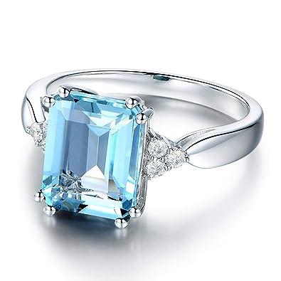Bague Topaze bleue ciel en Argent 925 pour Femme et pierre en Cristal