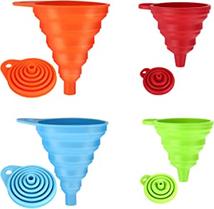 Siasky 4 Pcs Silicone Collapsible Funnel, Food Grade Foldable Kitchen Funnels for Water Bottle Liquid Powder Transfer
