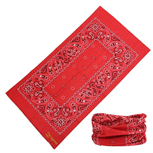 Headbands, Zupoo(TM) National Features Series 16-in-1 Multifunctional Headband Magic Scarf,Magic Bandanas,Collars Muffler Scarf Face Mask,Paisley in red