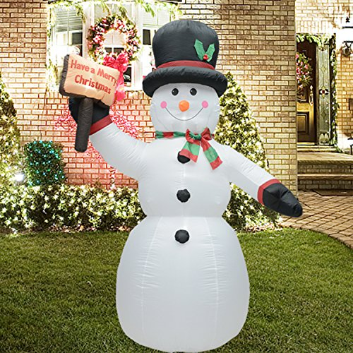 Fashionlite 8 Feet Christmas Xmas Inflatable Placard Snowman Lighted Blow-Up Yard Party Decoration (Snowman Christmas)