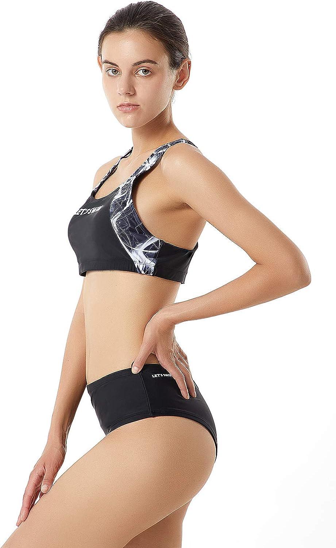 Lets Swim Women Bikini Swimwear Two Piece Printed Front Splice Bathing Suit Racerback Athletic Swimsuit with Brief Bottom Sun UV Protection UPF 50 Black