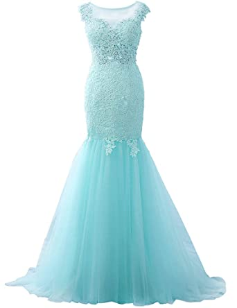 JAEDEN Appliqued Lace Evening Dresses Mermaid Prom Dress Long Gown Sexy Aqua US2