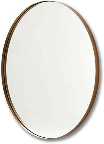 Better Bevel 36 x 36 Antique Brass Metal Framed Round Mirror