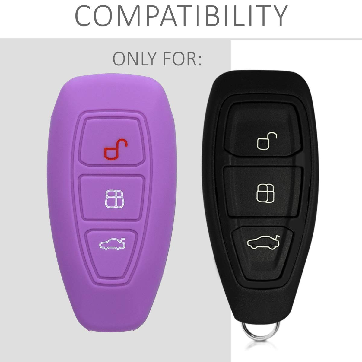 kwmobile Car Key Cover for Ford Silicone Protective Key Fob Cover for Ford 3 Button Car Key Keyless Go Grey
