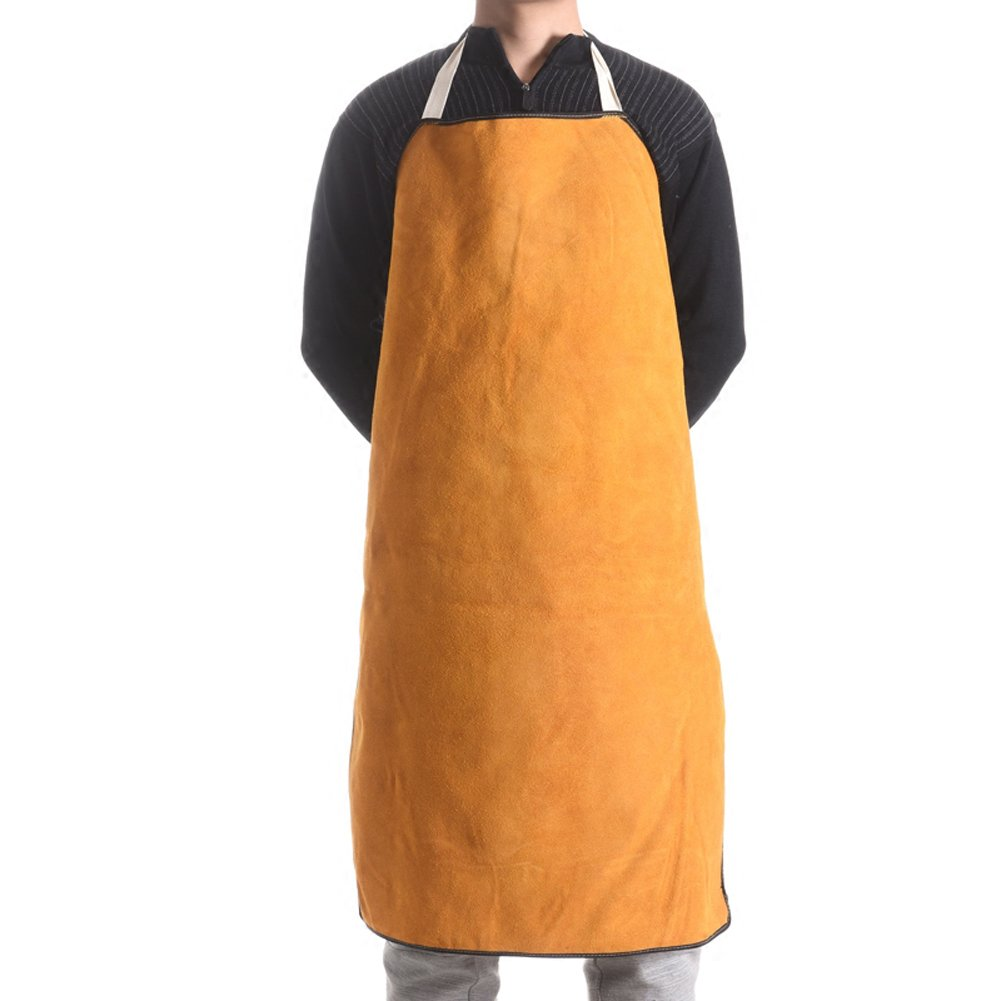 Leather Welding Work Apron Cape Heat Resistant & Flame Resistant Welder Cover Apron Protective Safety (Yellow) by tong gu