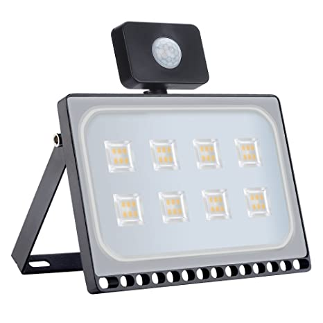 50W Blanco Blanco Cálido LED Sensor Movimiento Reflector Impermeable SMD IP67 Lámpara PIR Seguridad Lámpara LED