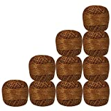 Pack of 10 Pcs Brown with Metallic Golden Cotton Crochet Thread For Cross Stitch Knitting Tatting Doilies Skeins Lacey Craft Yarn