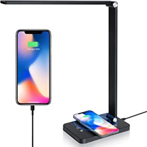 TEQStone Dimmable Metal LED Desk Lamp for Home Office with USB Charging Port and Wireless Charger, Adjustable Colors & Brightness Levels, 52 LED Eye-Caring Light Source, Up to 1000Lux