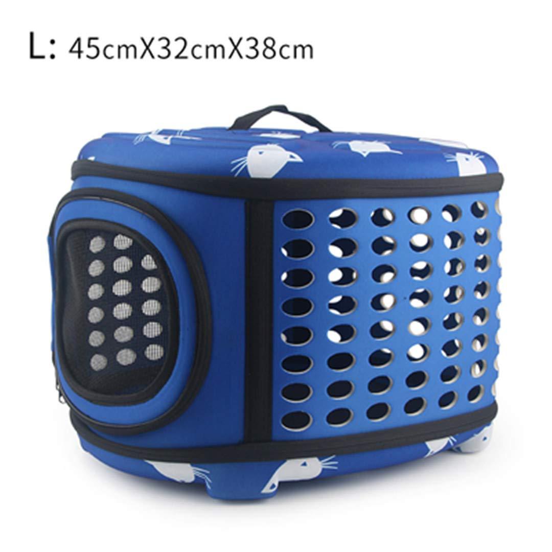 bluee 45x32x38cm L as picture bluee 45x32x38cm L as picture Cat Pattern Carrier Bag Portable Cats Handbag Foldable Travel Bag Puppy Carrying Shoulder Pet Bags bluee 45x32x38cm L as Picture