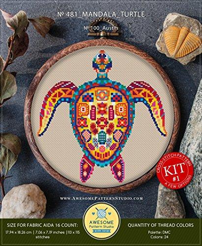 Mandala Turtle #K481 Cross Stitch Embroidery Kit | Funny Animals Cross Stitch Patterns | How to Cross Stitch | Needlepoint Kits | Cross Pattern ()