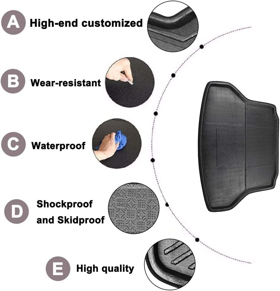Washable for Volkswagen VW Tiguan//Tiguan L Floor Carpet Kick Protection Pad Waterproof Non Slip BTSDLXX Car Cargo Liner Boot Tray Rear Trunk Cover Storage Mat