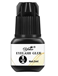 Professional Eyelash Glue - Strong Bonding and Premium Lash Glue Adhesive for Individual Eyelash Extensions 1-2 Second Fast Drying Time 6-7 Weeks Retention (5ml)