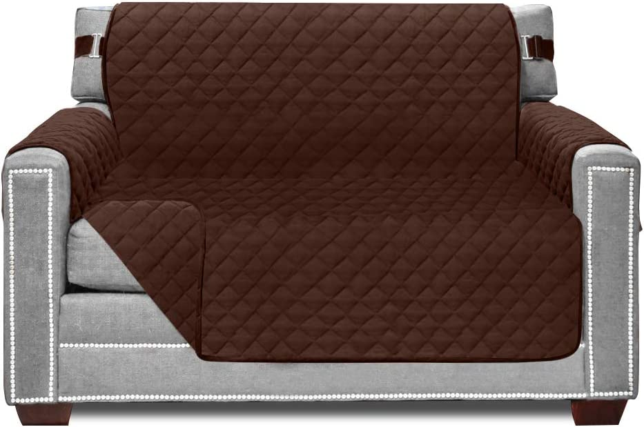 Sofa Shield Original Patent Pending Chair Slipcover, Many Colors, Seat Width to 48 Inch, Reversible Furniture Protector with Straps, Chairs Slip Cover Throw for Pet Dogs, Cats, Armchair, Chocolate