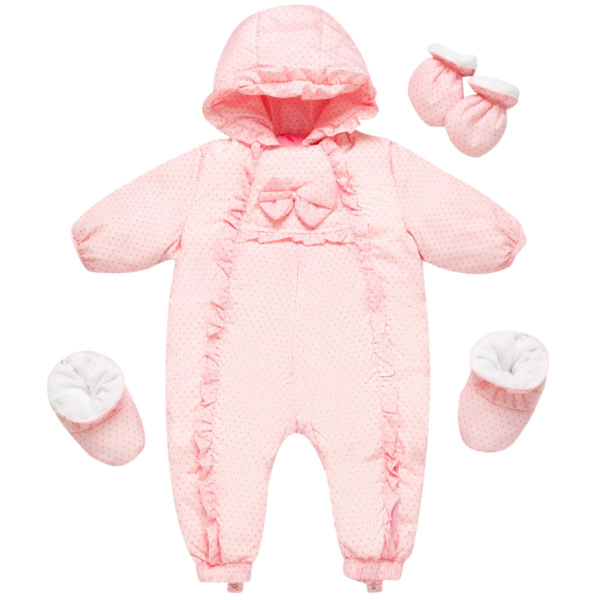 Famuka Baby Snowsuit Romper Outwear Winter Warm Outfit with Gloves
