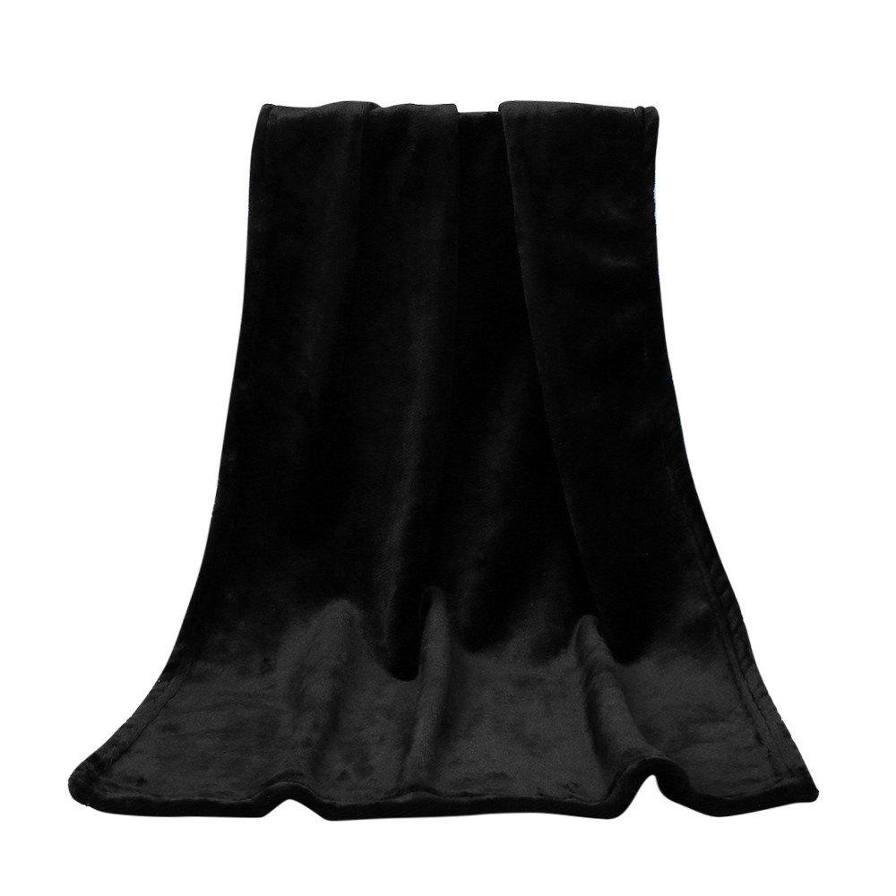baskuwish Blankets,Fashion Solid Soft Throw Kids Blanket Warm Coral Plaid Blankets Flannel (Black)