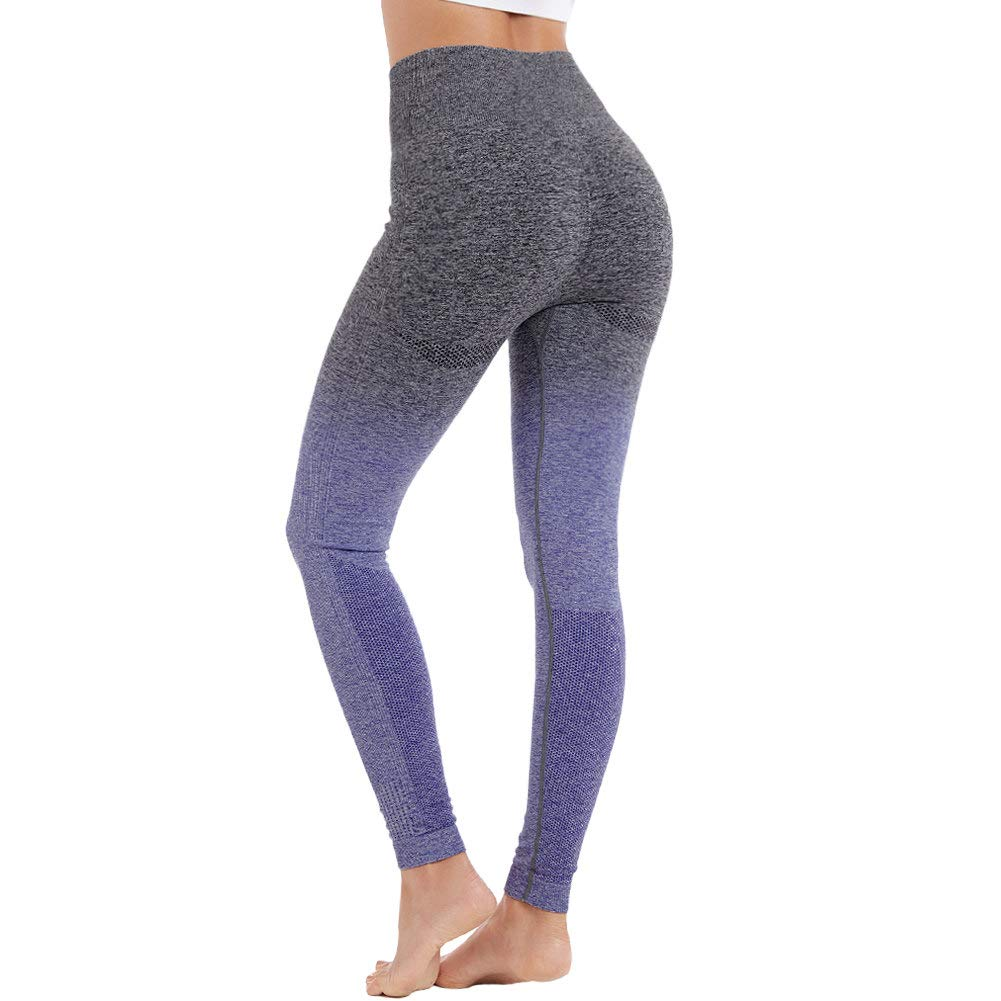 Aoxjox Yoga Pants for Women High Waisted Gym Sport Ombre Seamless Leggings (Black/Indigo, Medium)