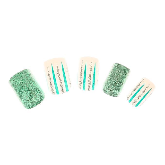 Claires-mujer-Lote De 24 De uñas verde con lentejuelas, color verde: Amazon.es: Belleza