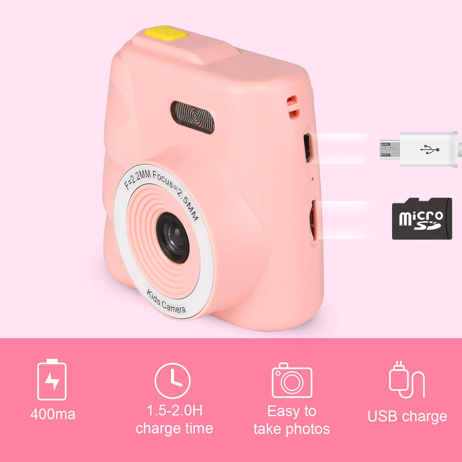 Kids Camera Gifts for 4-8 Year Old boys or girls, Great Gift Mini Child Camcorder for children with Soft Silicone Shell and 5 Mega pixel front lens 2.0 inch HD screen (32G TF card not included) by eyesen (Image #3)
