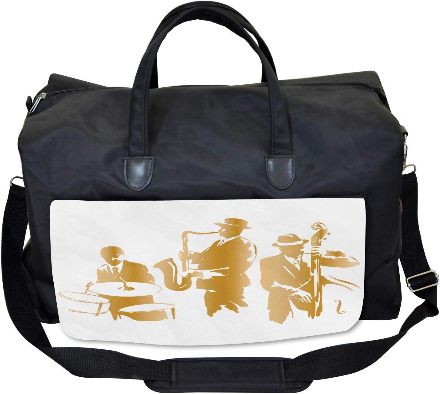 Ambesonne Vintage Gym Bag Large Weekender Carry-on Jazz Band Blues Music