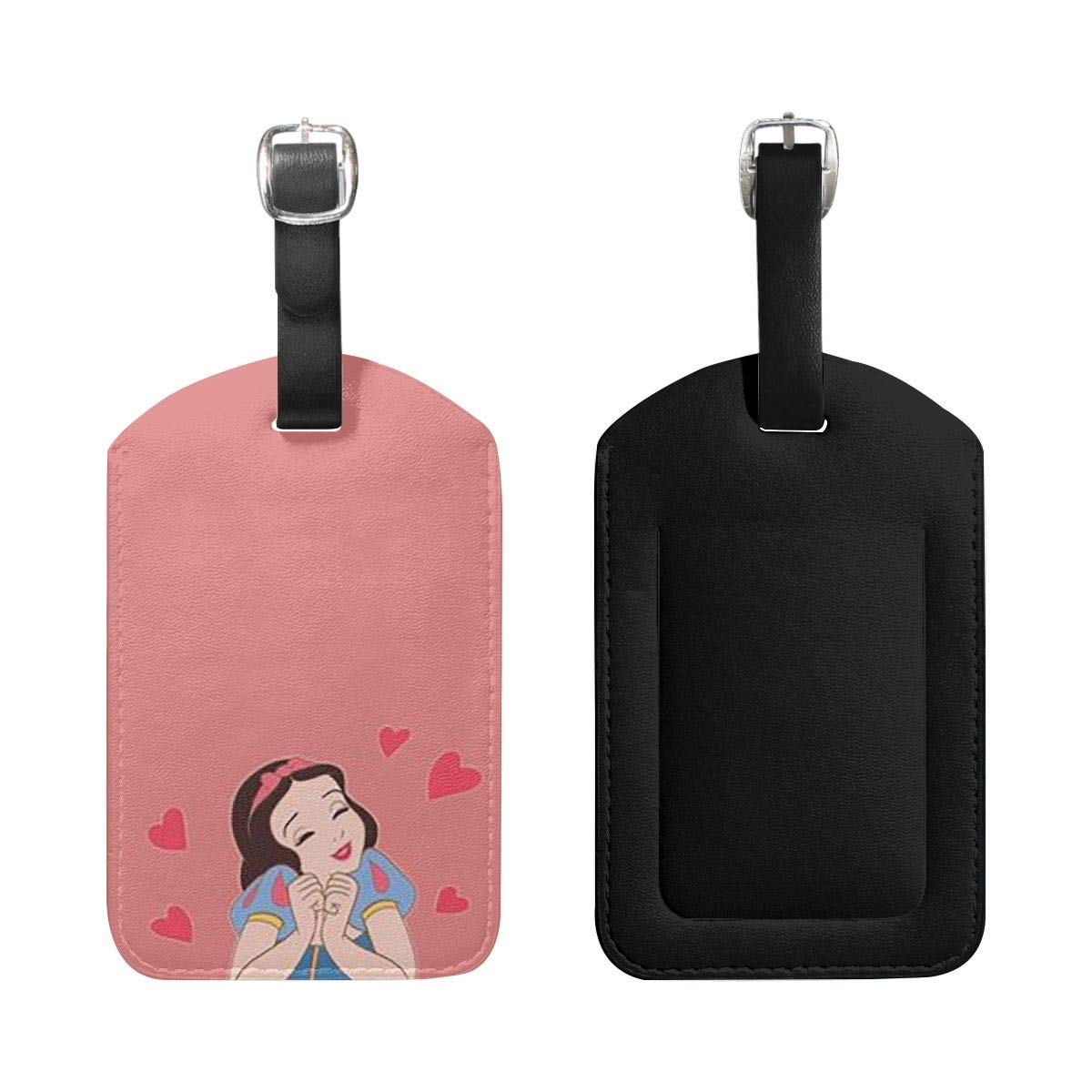 PU Leather Luggage Tags Snow White with Love Suitcase Labels Bag Adjustable Leather Strap Travel Accessories Set of 2