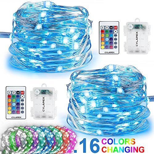 2 Light Set (CYLAPEX 2 Set Fairy Lights Multi Color Changing with Remote, LED String Lights Battery Operated, 50 LEDs on 16.4FT Silvery Copper Wire Decorative String Lights for Bedroom Christmas Patio Waterproof)