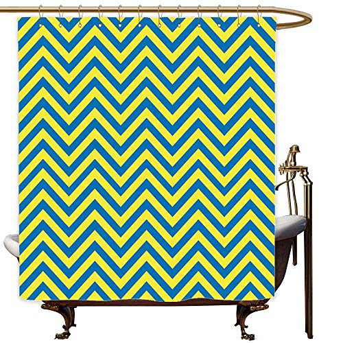 (SKDSArts Shower Curtains Fabric Victorian Yellow and Blue,Classical Chevron Pattern Horizontal Zigzag Lines Geometric Old Fashioned,Blue Yellow,W72 x L72,Shower Curtain for clawfoot tub )
