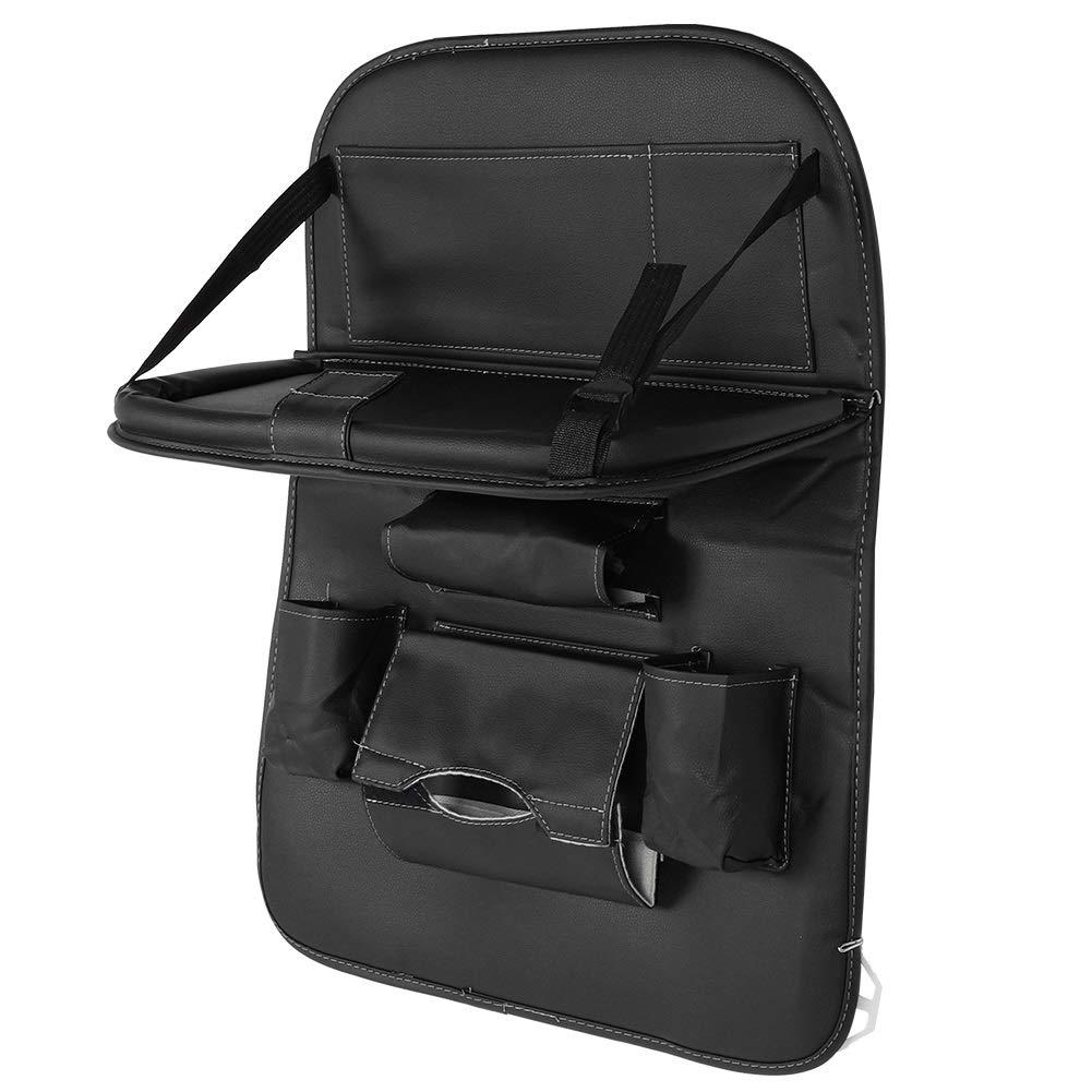 Car Seat Organizer - Multi-Purpose Leather Backseat Organizer PU Leather Storage Organizer Tray Pouch 2pcs Black by Delaman (Image #1)