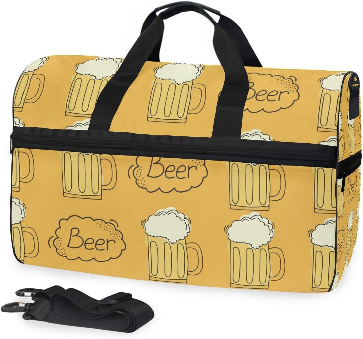 MALPLENA Cartoon Beer Pattern Packable Duffle Bag For Men Women Tear Resistant Sports Duffle