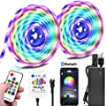 Color Chase Music LED Strip Light Kit, 10M/32.8ft Rainbow Colors LED Tape Lights Bluetooth Smart Phone APP Timer & RF Remote Controlled Addressable RGB Waterproof LED Rope Lights for Indoor Bedroom