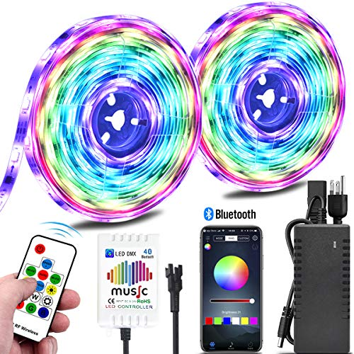 Color Chasing Music LED Strip Light Kit, 10M/32.8ft Rainbow Colors LED Tape Lights Bluetooth Smart Phone APP Timer & RF Remote Controlled Addressable RGB Waterproof LED Rope Lights for Indoor Bedroom]()