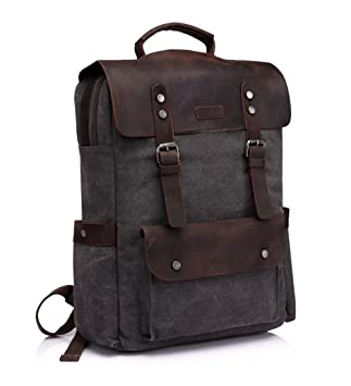 Amazon.com: Leather Laptop Backpack,Vaschy Casual Canvas Campus ...