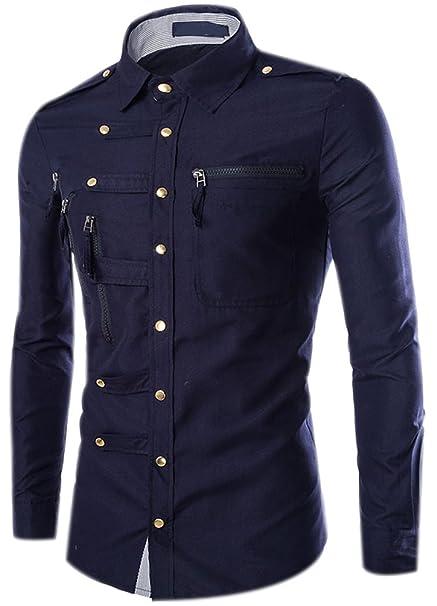 Camisas Hombre Slim Fit Shirt Manga Larga Básica Moda Camisa Casual Cuello Formales Vestir Shirts Blusa