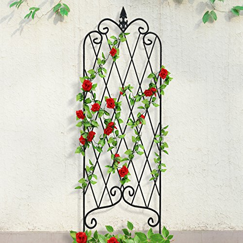 "Amagabeli 46"" x 15"" Rustproof Black Iron Garden Trellis for Climbing Plants Potted Vines Vegetables Vining Flowers Patio Metal Wire Lattices Grid Panels for Ivy Roses Cucumbers Clematis Pots Supports (Flower Trellis)"
