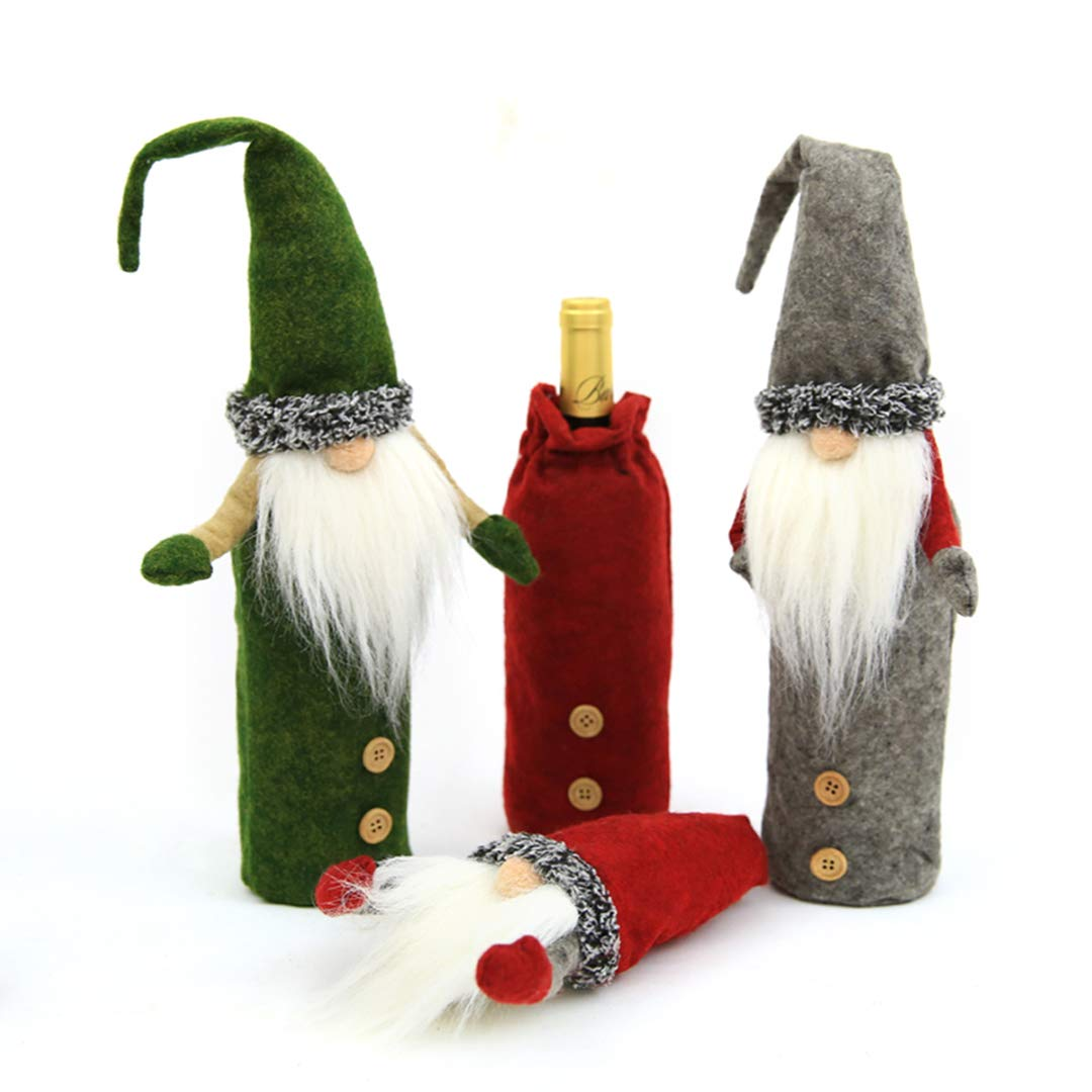 Christmas Wine Bottle Cover Swedish Gnome Decoration for Wine Bag Xmas Decor (Red + Grey + Green)