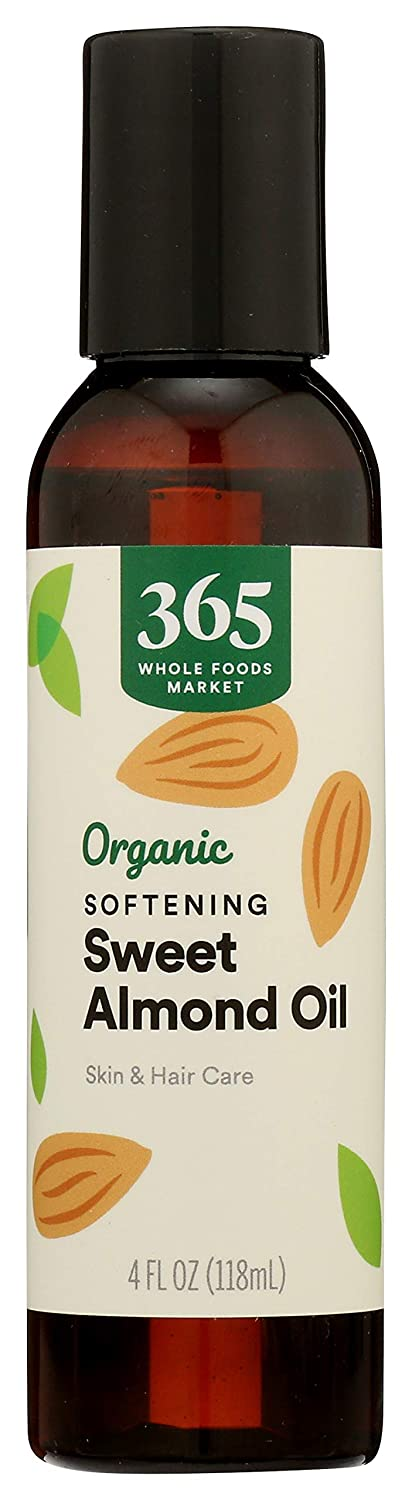 365 by Whole Foods Market, Organic Aromatherapy Carrier Oil, Softening Sweet Almond Oil (Skin & Hair Care), 4 Fl Oz