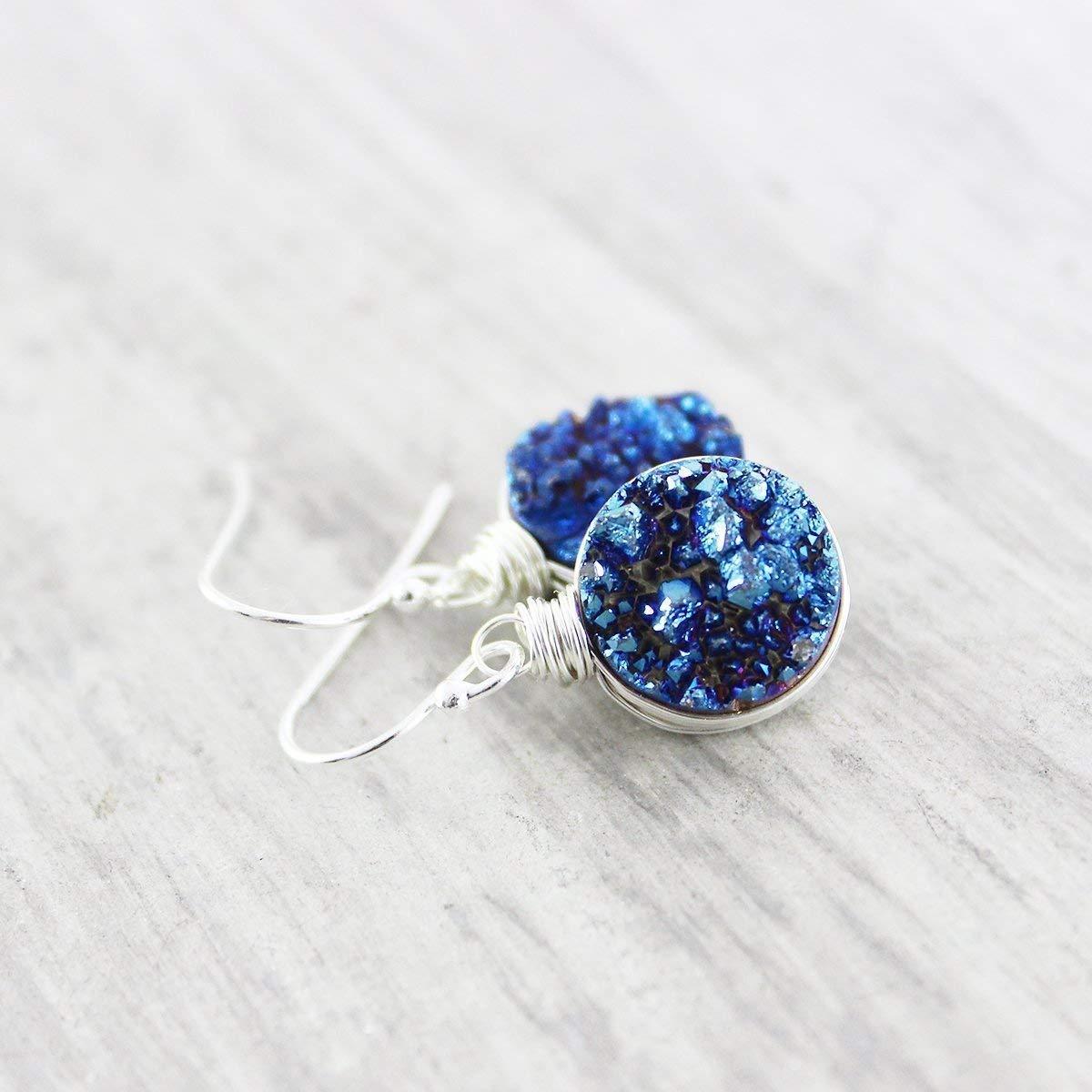 Dark Blue Druzy Quartz Sterling Silver Circle Earrings