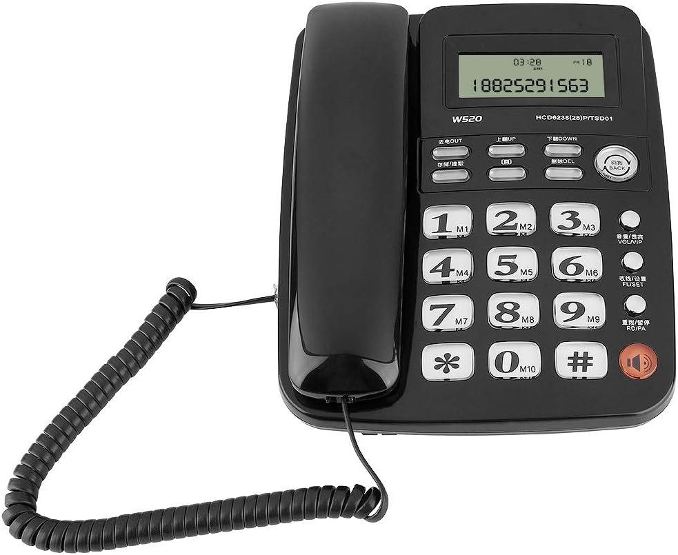 Bewinner Teléfono con Cable, teléfono de Escritorio, teléfono Fijo inalámbrico con contestador automático para el hogar/Hotel con diseño sin batería/identificador de Llamadas(Negro)
