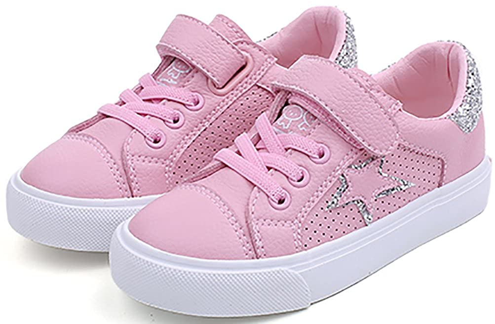 VECJUNIA Boys Girls Fashion Breathable Hollow Out Sequins Sneakers with Star Print