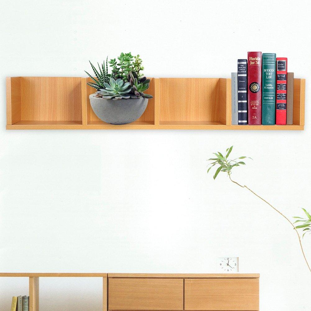 CD/DVD Storage Shelf-Modern Wall Mount Display Shelf CDs/DVDs Organizer Storage Rack Wooden Unit 4 Cases (Wood Color) by Yosooo