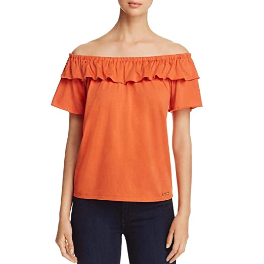 03f0e5ac8b59e Michael Michael Kors Womens Off-The-Shoulder Casual Casual Top Orange S