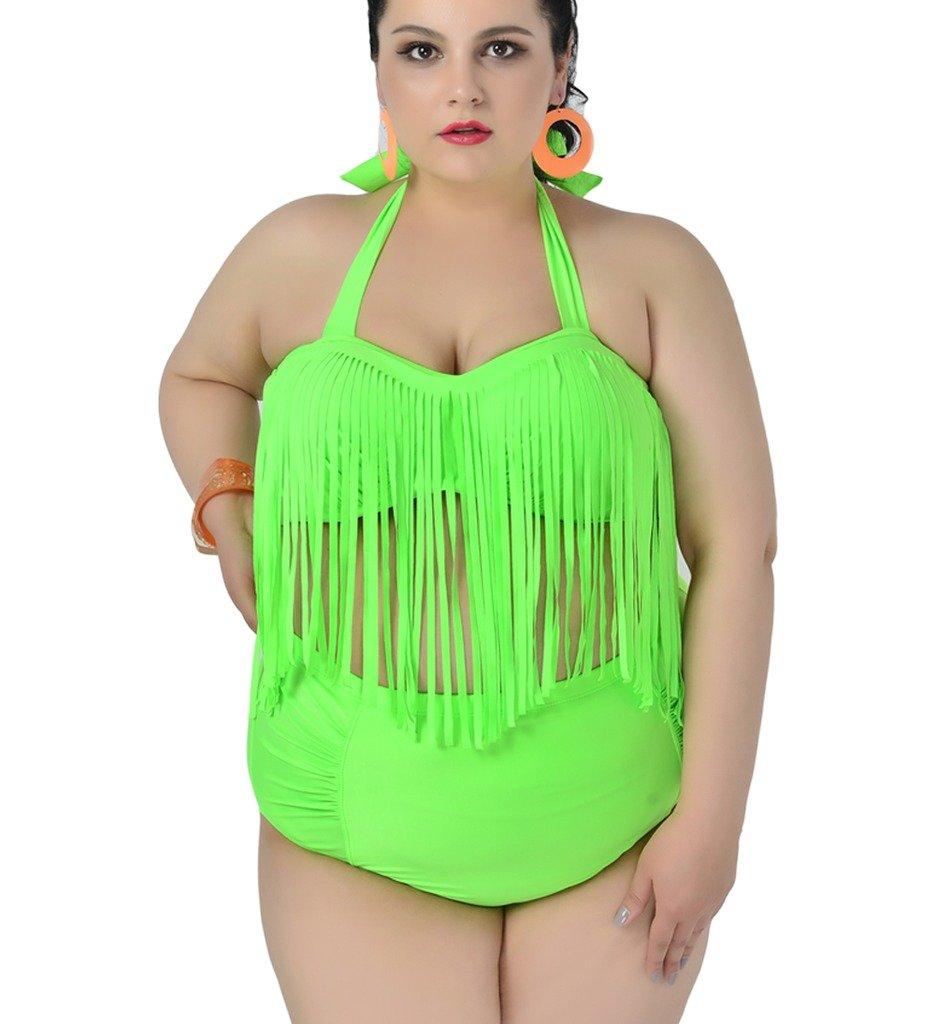 Papaya Wear レトロハイウエストビキニ 水着 編みフリンジトップ プラスサイズ レディース B01CSMBCPY フラワー US 2XL