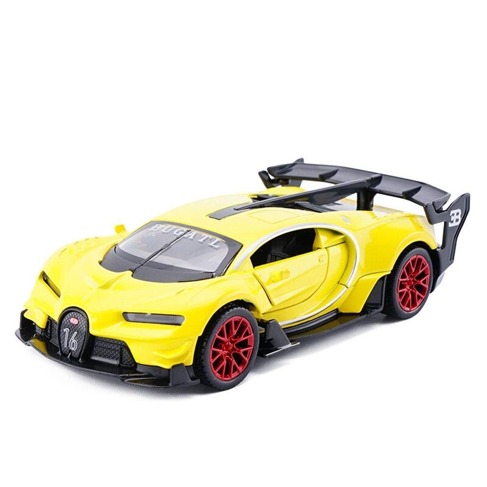 Kikioo Mini Diecast Alloy Car Toys with Light Pull Back Vehicle Friction Inertial Play Cute Toy Sound and Light Sports Version Model Educational Toys Kids Gift Collections Yellow