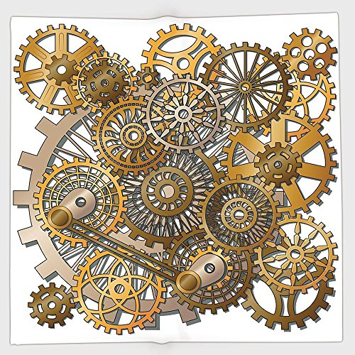 Polyester Bandana Headband Scarves Headwrap,Clock Decor,The Gears in The Style of Steampunk Mechanical Design Engineering Theme,Gold and Brown,for Women Men]()