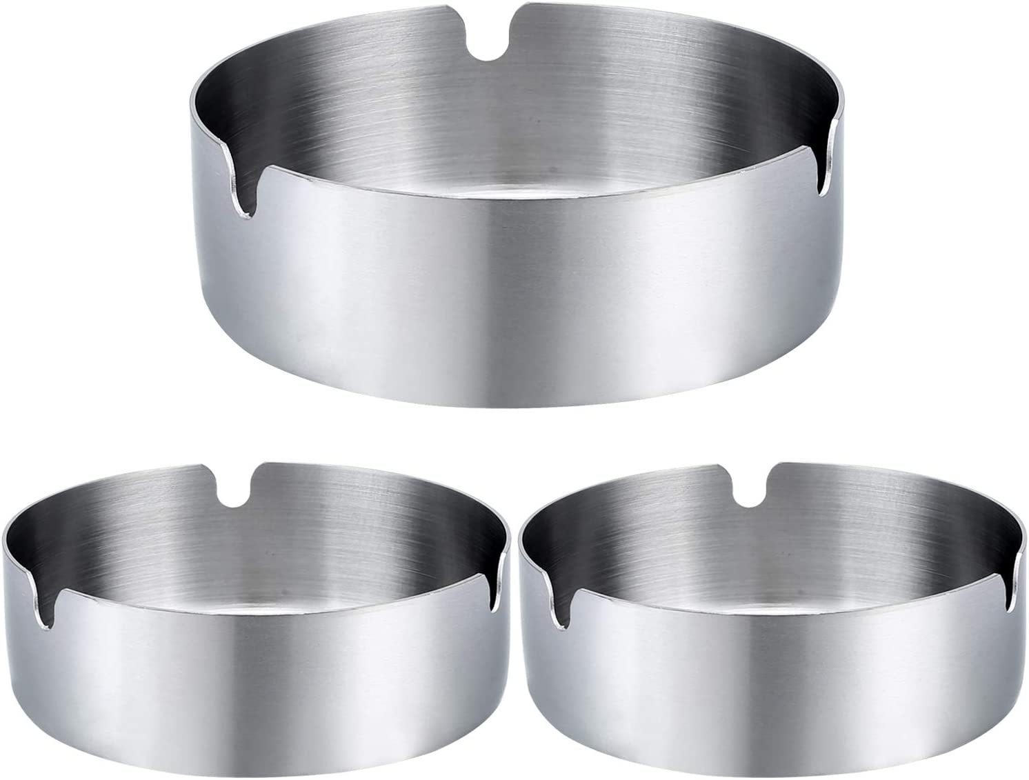 Pack of 3 Cigar Ashtray Tabletop Round Stainless Steel Ash Tray Suitable for Cigarette Ash Holder for Home,Hotel,Restaurant,Indoor,Outdoor