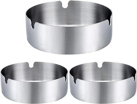 Amazon.com: Juego de 3 ceniceros redondos de acero ...
