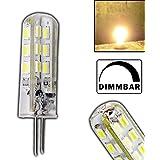 Trango Ampoule LED G4 GU4 pour culot à broches halogènes 360° luminosité variable 1,56 W et 24 SMD Blanc chaud 12 V