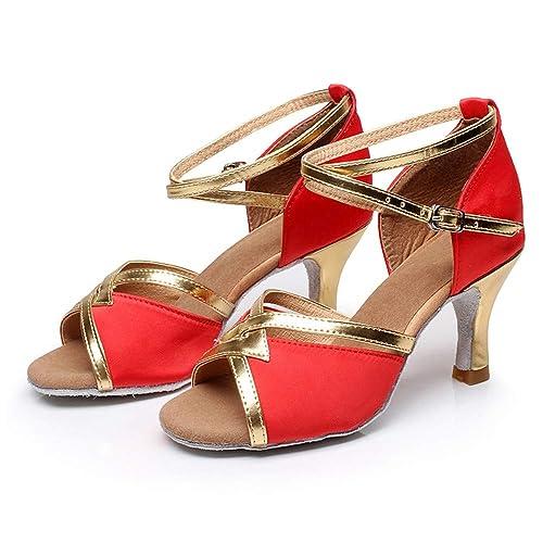 HCCY Zapatos Adultos de Baile Latino para Mujer Zapatos Modernos de tacón  Alto Zapatos de Baile de Cuero con Suela Suave Rojo  Amazon.es  Zapatos y  ... adec4a095719