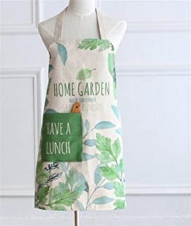 Very Attractive Simple Plant Printed Apron-Home Antifouling Letters Apron (Light Green)
