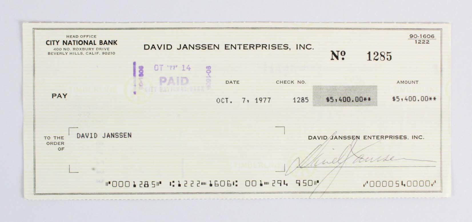 The Fugitive David Janssen Signed Check COA