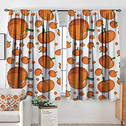 Mozenou Harvest Window Curtain Drape Halloween Inspired Pattern Vivid Cartoon Style Plump Pumpkins Vegetable Decorative Curtains for Living Room 63